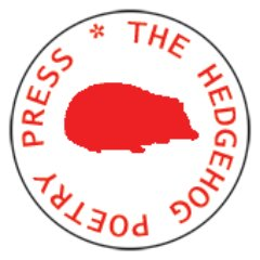 Logo. Red Hedgehog Silouette with Hedgehog Poetry Press in red letters  circling it.